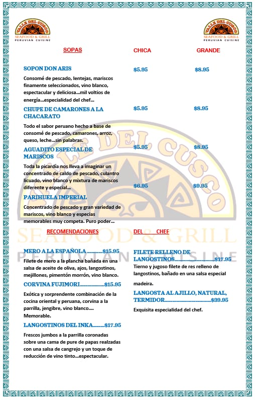 Carta restaurante Valle del Cusco